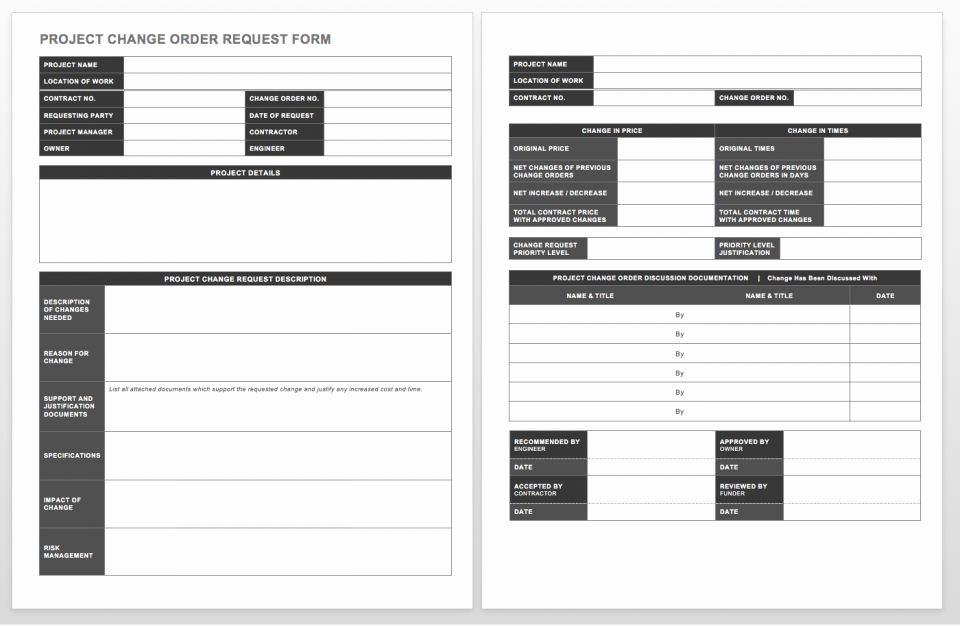 Change order form Template New Plete Collection Of Free Change order forms