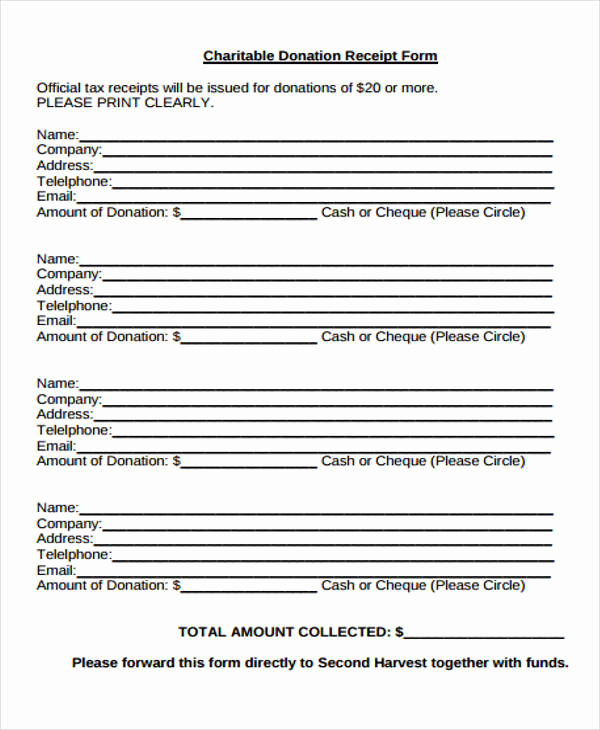 Charitable Donation Receipt Template Awesome 36 Printable Receipt forms