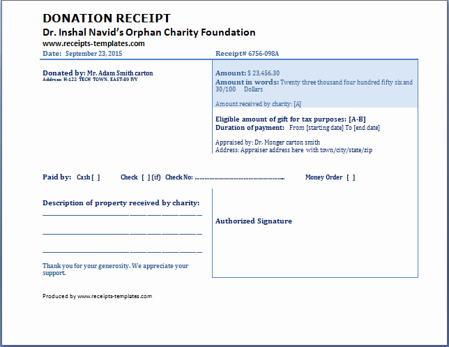 Charitable Donation Receipt Template Lovely Donation Receipt Template Free