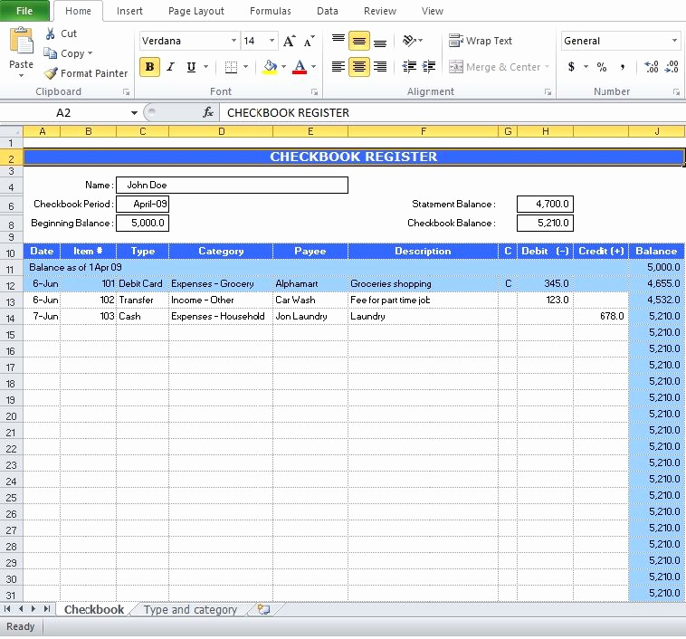 Check Register Template Excel New Free Check Register Excel Template