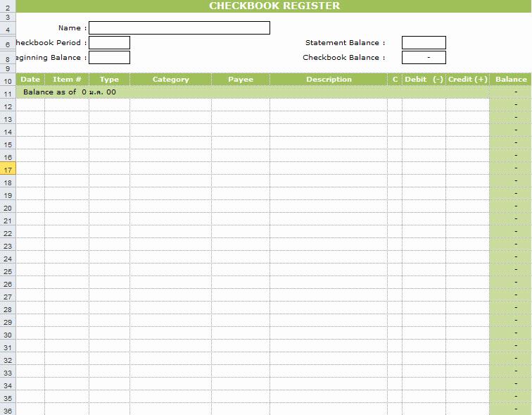Check Register Template Excel Unique Checkbook Register Template In Excel