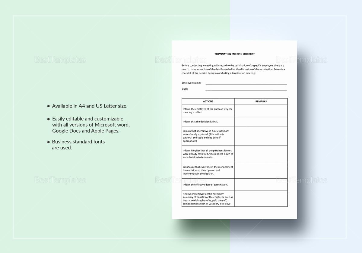 Checklist Template Google Docs Beautiful Termination Meeting Checklist Template In Word Google