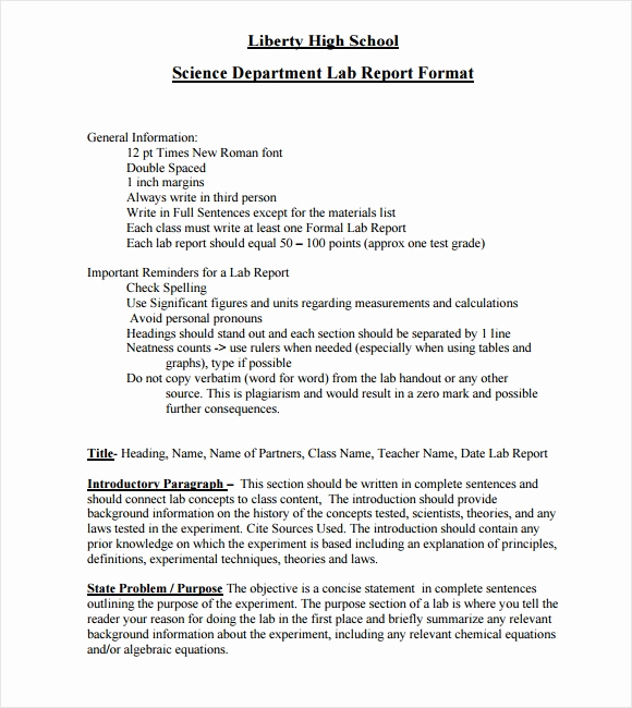 sample lab report