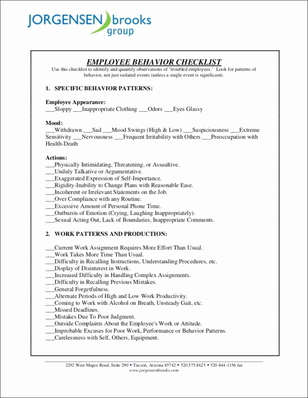 Child Behavior Checklist Pdf Awesome 16 Behavior Checklist Samples & Templates