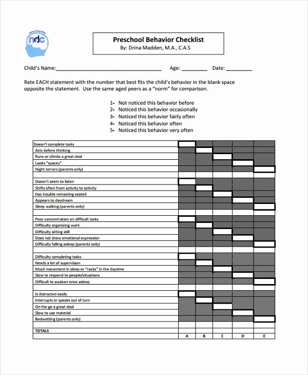 Child Behavior Checklist Pdf Inspirational Preschool Behavior Checklist