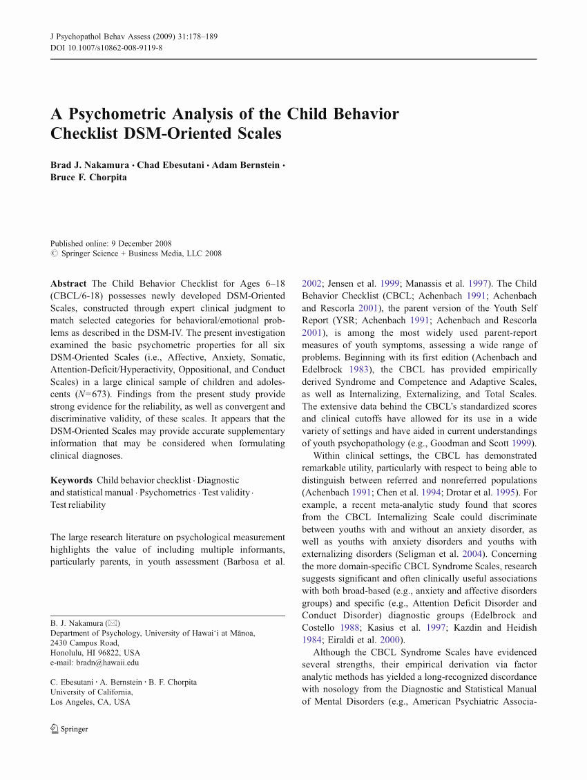 Child Behavior Checklist Pdf New Pdf A Psychometric Analysis Of the Child Behavior