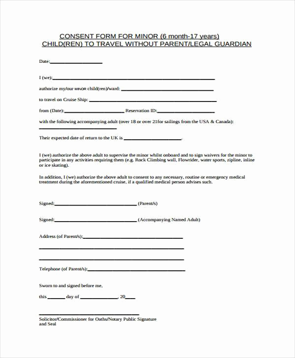 Child Medical Consent form Pdf Awesome Free Consent form Samples