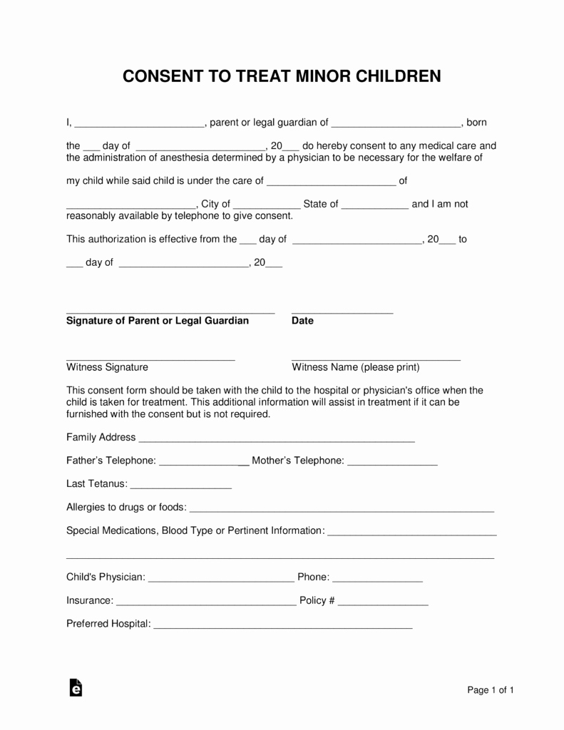 Child Medical Consent form Pdf Awesome Free Minor Child Medical Consent form Word