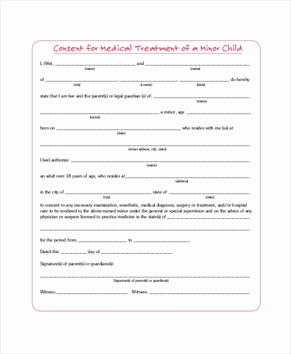 Child Medical Consent form Pdf Unique Sample Medical Consent forms 8 Free Documents In Pdf Doc