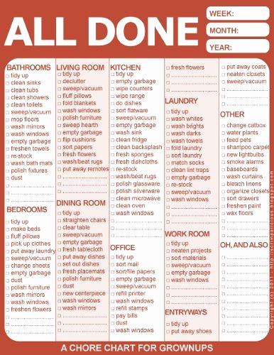 Chore List for Adults Beautiful Adult Chore Chart On Pinterest