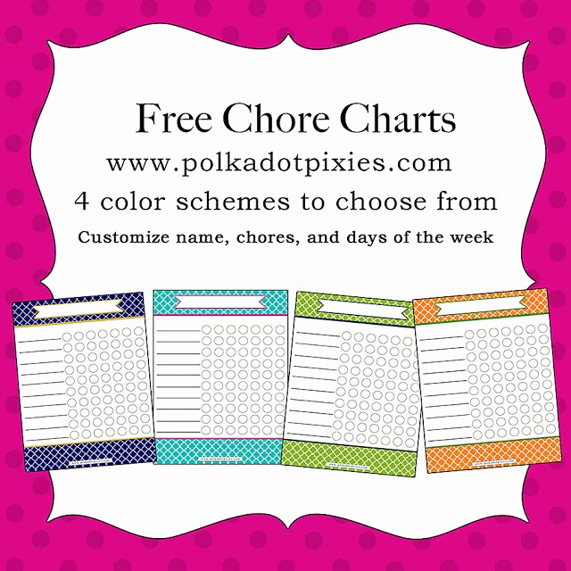 Chore List for Adults Inspirational Polka Dot Pixies Free Chore Chart