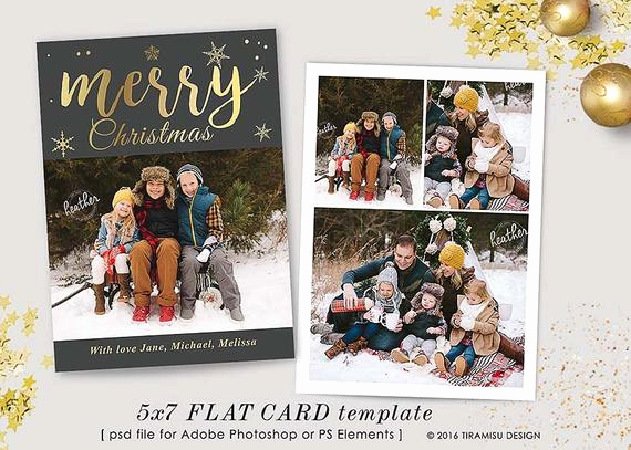 Christmas Card Templates for Photoshop Awesome Christmas Card Template 7x5 In Holiday Card Adobe Shop