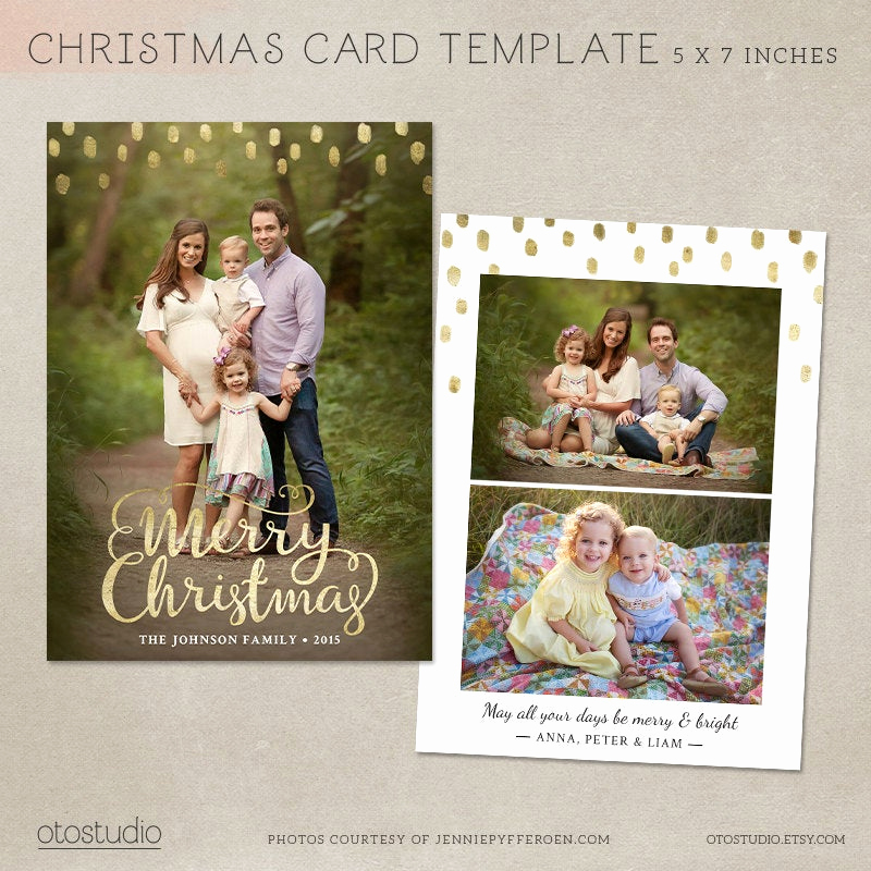 Christmas Card Templates for Photoshop Elegant Christmas Card Template Shop Template 5x7 Flat Card