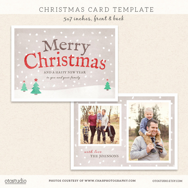 Christmas Card Templates for Photoshop Fresh Digital Shop Christmas Card Template for by Otostudio