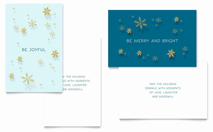 Christmas Card Templates Word Awesome Golden Snowflakes Greeting Card Template Word & Publisher