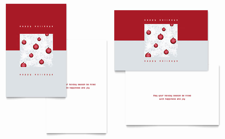Christmas Card Templates Word Beautiful Red ornaments Greeting Card Template Word & Publisher