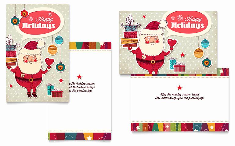 Christmas Card Templates Word Elegant Retro Santa Greeting Card Template Word & Publisher