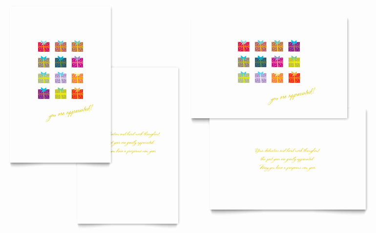 Christmas Card Templates Word Luxury Christmas Presents Greeting Card Template Word & Publisher