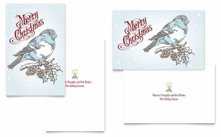 Christmas Card Templates Word Unique Vintage Bird Greeting Card Template Word & Publisher