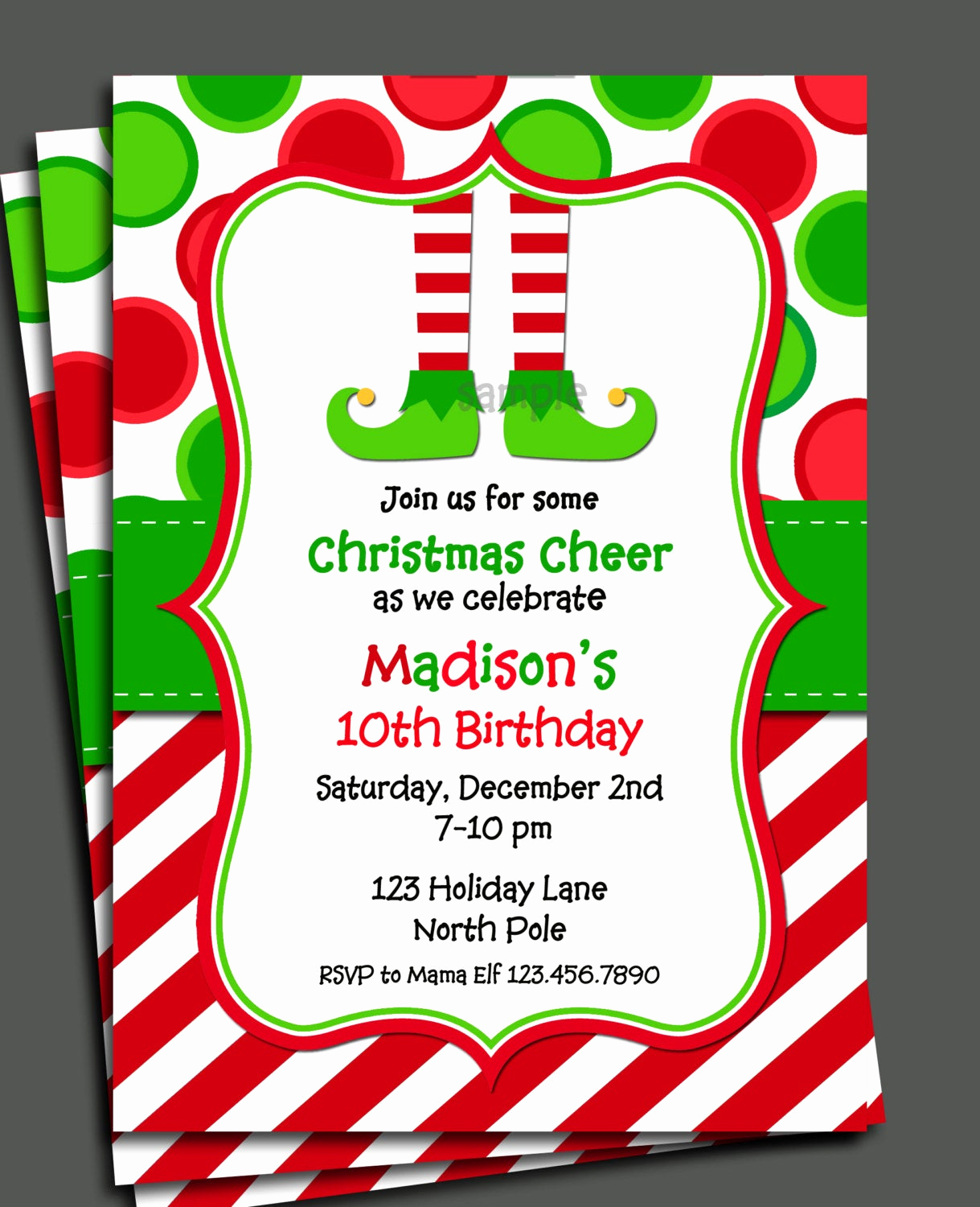 Christmas Party Invitations Free Awesome Christmas Elf Invitation Printable Christmas Birthday
