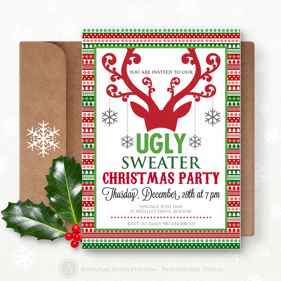 Christmas Party Invitations Free Awesome Printable Christmas Party Invitation Instant Download Ugly