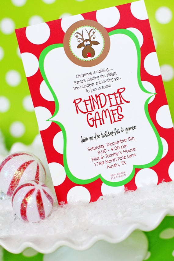 Christmas Party Invitations Free Awesome Reindeer Games Invitation Printable Christmas Party