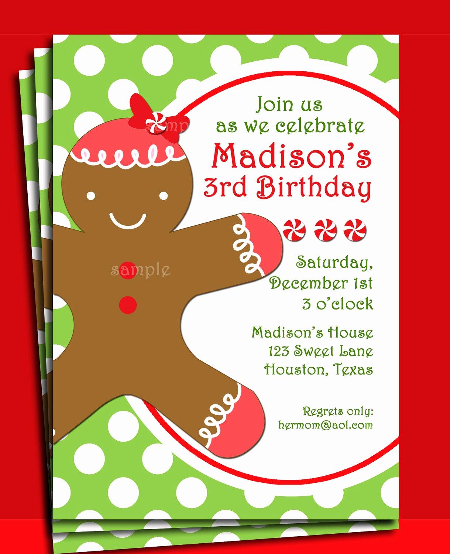 Christmas Party Invitations Free Elegant Christmas Gingerbread Girl Invitation Printable Christmas