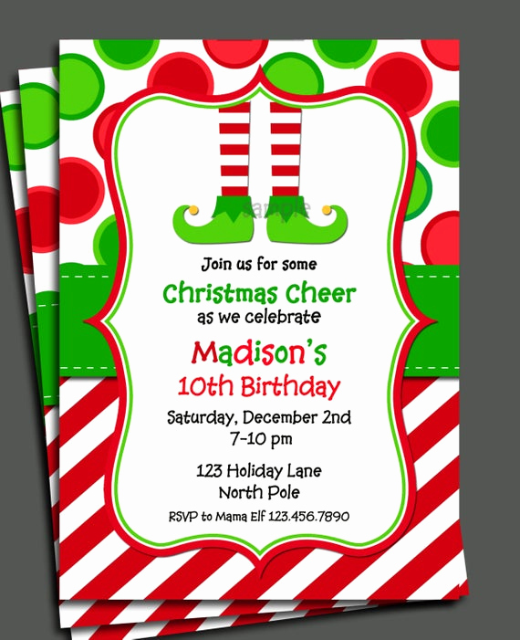 Christmas Party Invitations Free Inspirational Christmas Elf Invitation Printable Christmas Birthday