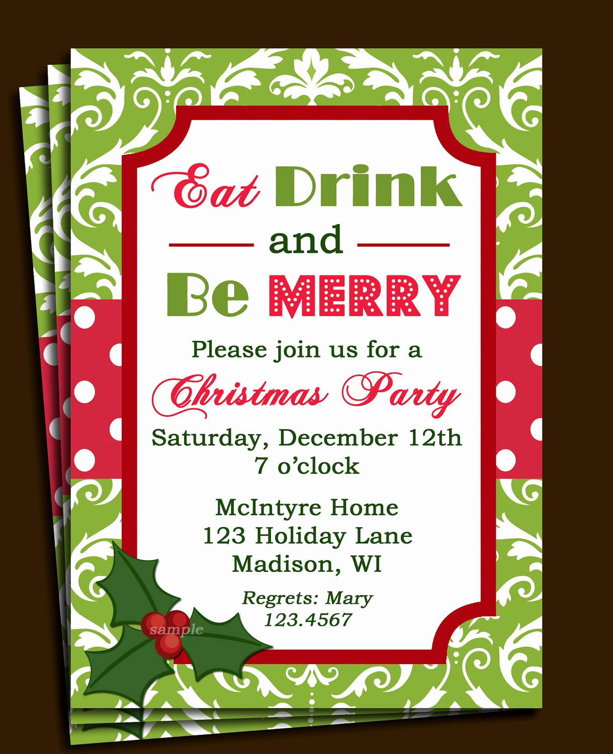 Christmas Party Invitations Free Lovely Items Similar to Christmas Party Invitation Printable