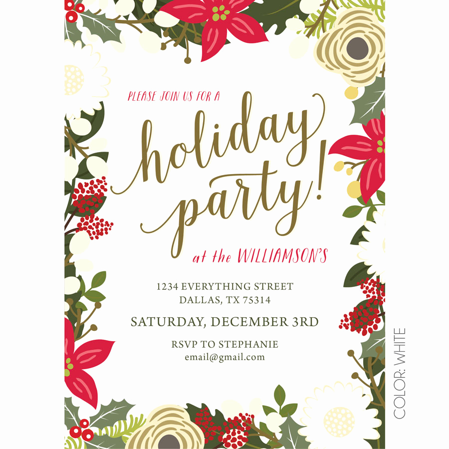 Christmas Party Invitations Free New Floral Holiday Party Invitation