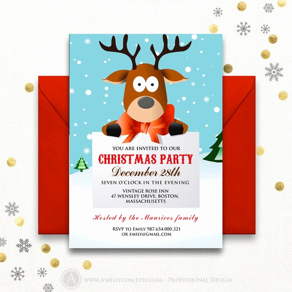 Christmas Party Invitations Free New Funny Christmas Party Invitations Printable Reindeer Kids