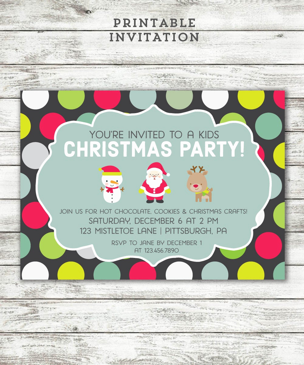 Christmas Party Invitations Free New Kids Christmas Party Invitation Printable Invite Cute