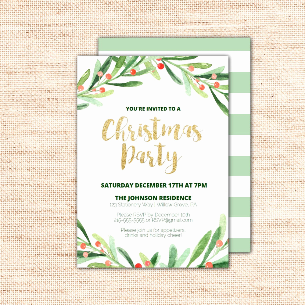 Christmas Party Invitations Free Unique Holly Wreath Printable Christmas Party Invitation Template