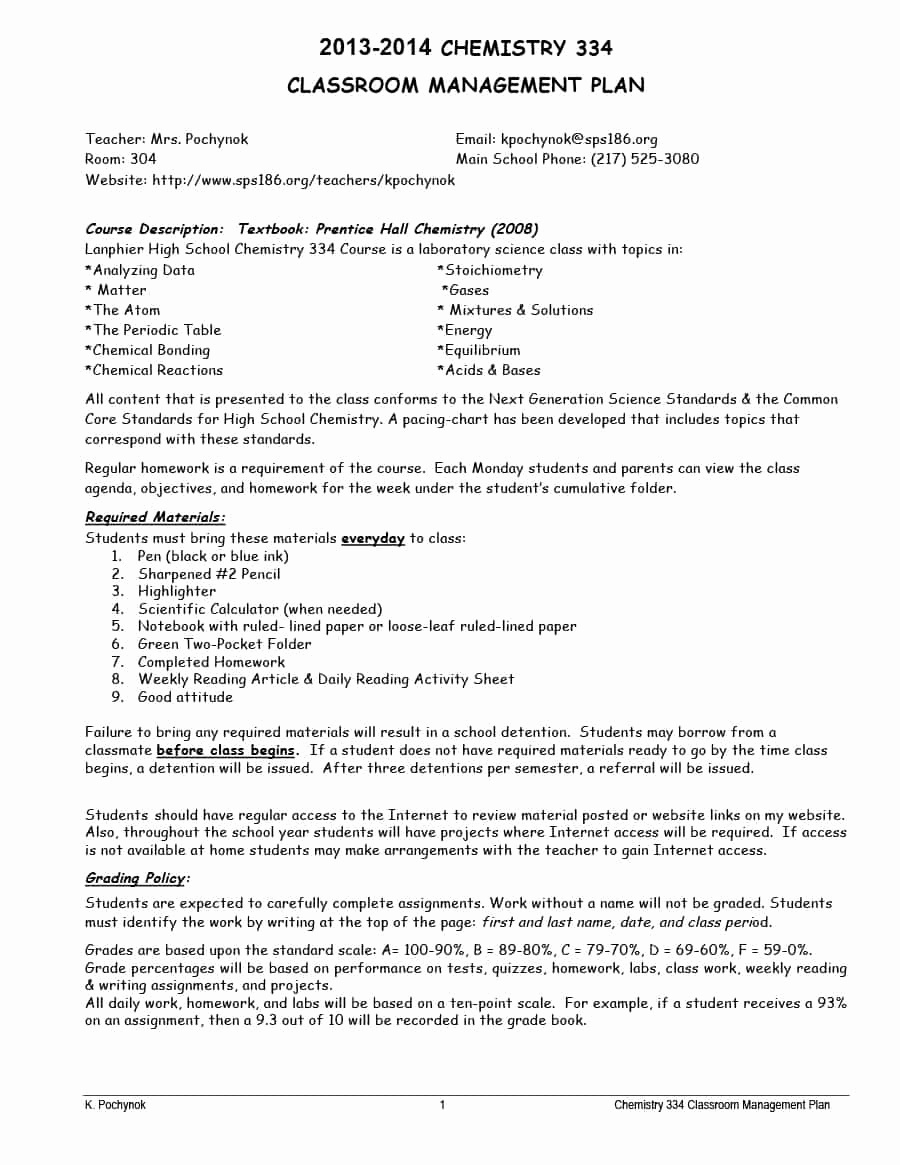 Classroom Management Plan Template Awesome Classroom Management Plan 38 Templates & Examples