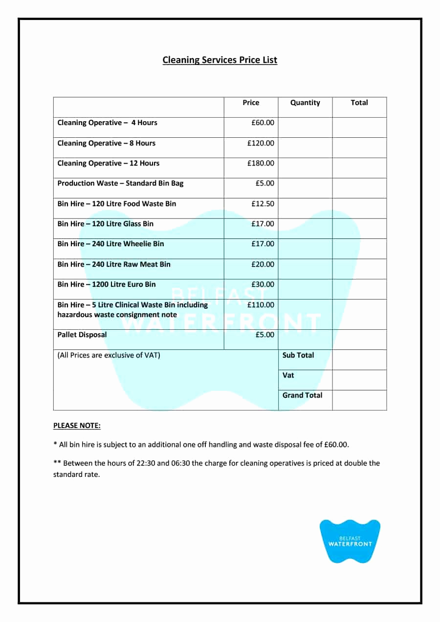 Cleaning Services Price List Template Best Of 40 Free Price List Templates Price Sheet Templates