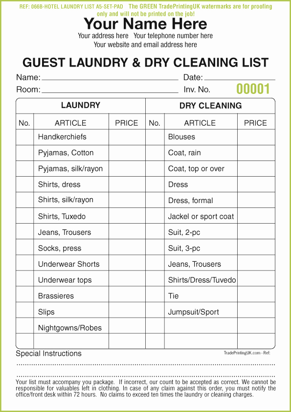 Cleaning Services Price List Template Elegant Dry Cleaning Receipt Pads Template