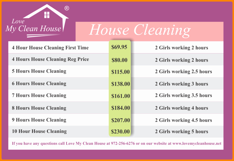 Cleaning Services Price List Template Fresh House Cleaning Services Prices List