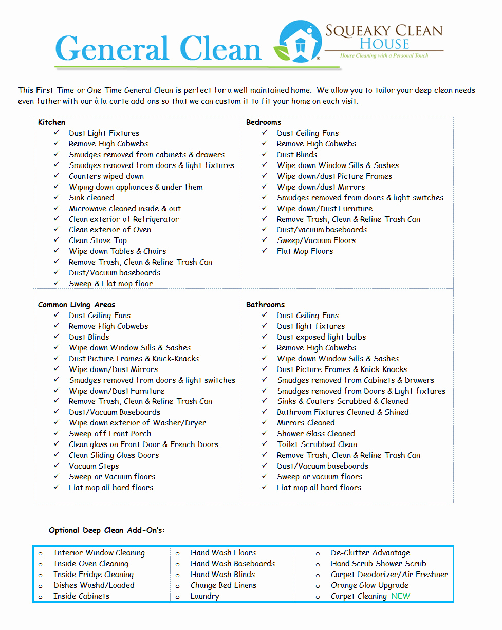 Cleaning Services Price List Template New General Cleaning Services – Squeaky Clean House Cleaning