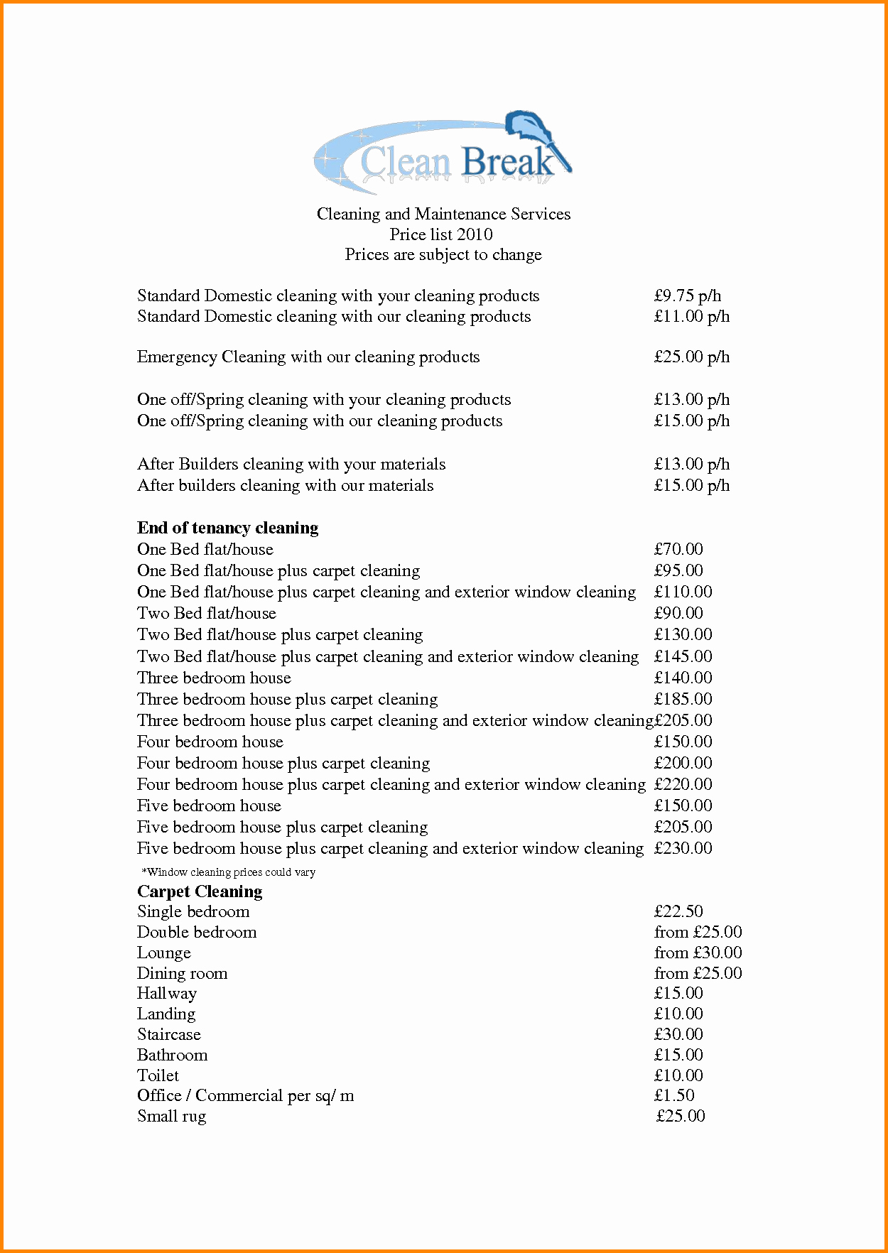 Cleaning Services Price List Template Unique House Cleaning Services Prices List