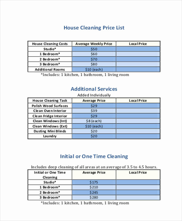 Cleaning Services Prices List Awesome 20 Price List Samples In Pdf
