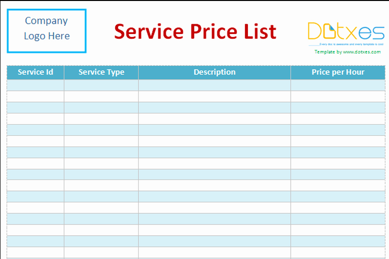 Cleaning Services Prices List Awesome Service Price List Template Word Dotxes