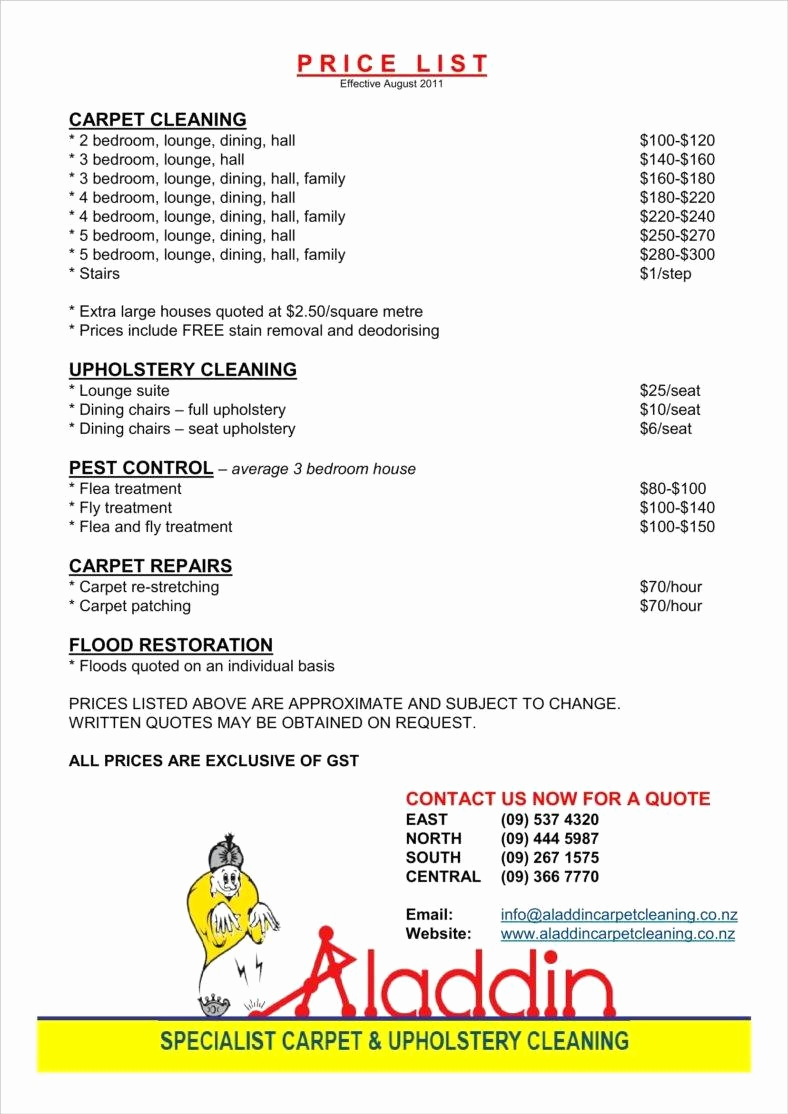 Cleaning Services Prices List Beautiful 8 Cleaning Price List Templates Free Word Pdf Excel