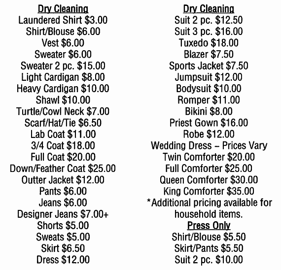 Cleaning Services Prices List Beautiful Montclair Laundry Dry Cleaning Services 973 744 6900