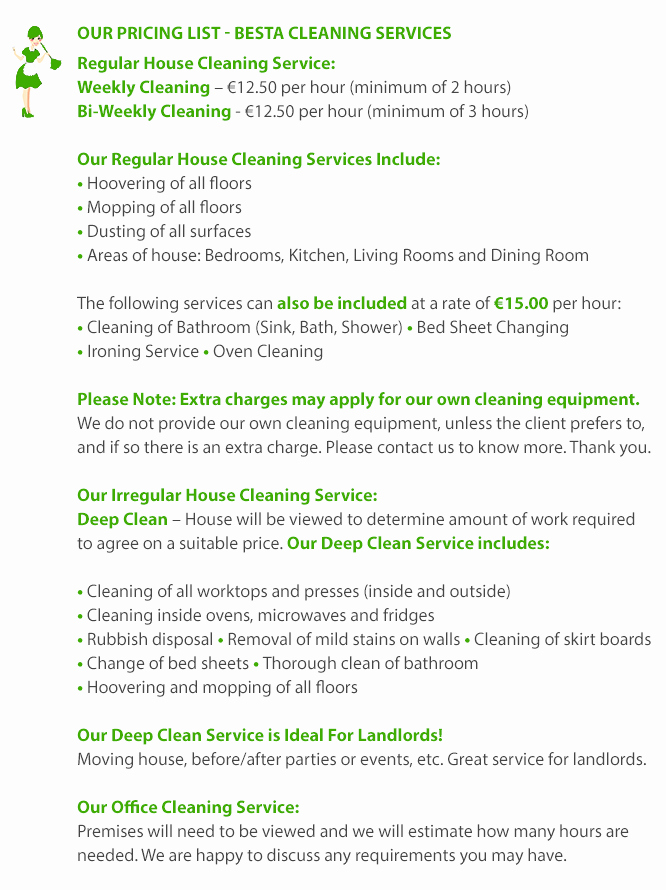 Cleaning Services Prices List Fresh House Cleaning Price List