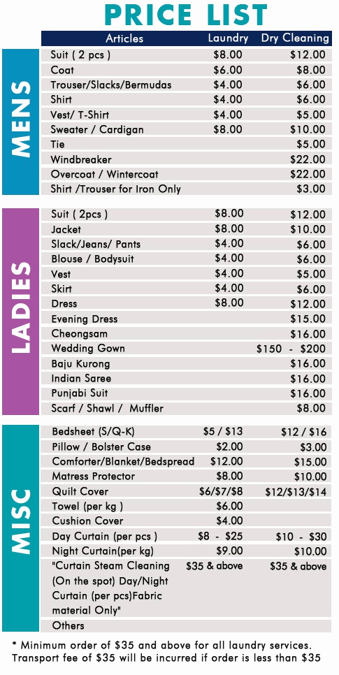 Cleaning Services Prices List Fresh Singapore Dry Cleaning™ Dry Cleaning & Laundry Pricelist