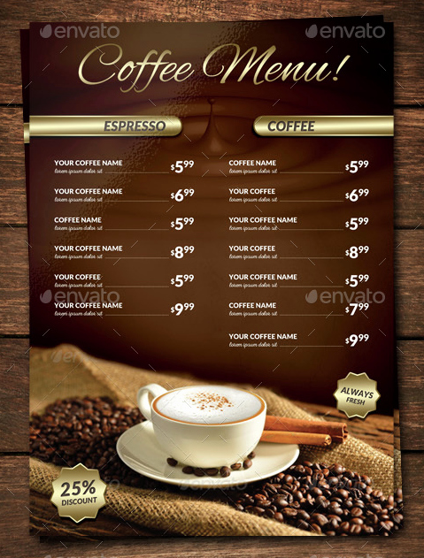 Coffee Shop Menu Template Awesome 15 Coffee Shop Menu Designs & Templates Psd Indesign
