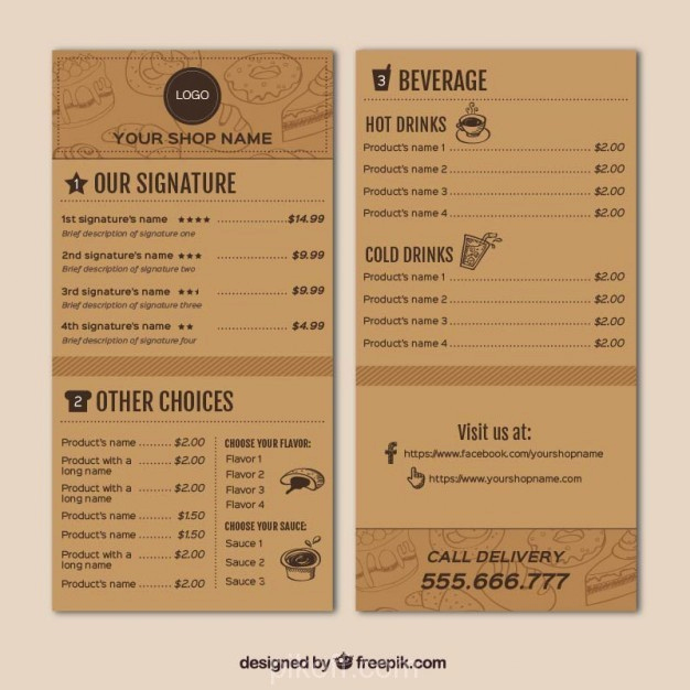 Coffee Shop Menu Template Awesome [ai] Coffee Shop Menu Template Vector Free Pikoff
