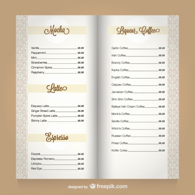 Coffee Shop Menu Template Awesome Coffee Menu Template Vector