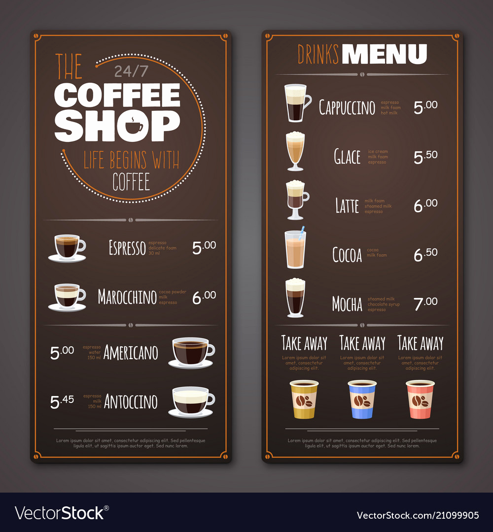 Coffee Shop Menu Template Best Of Coffee Shop Menu Design Template Royalty Free Vector Image