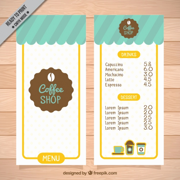 Coffee Shop Menu Template Best Of Coffee Shop Menu Template Vector